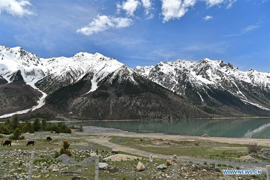 Photo taken on May 18, 2019 shows scenery near the Ra\'og Lake in Qamdo, southwest China\'s Tibet Autonomous Region. (Xinhua/Li Xin)