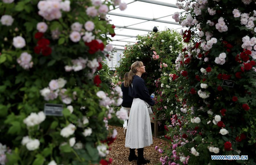People visit the RHS (Royal Horticultural Society) Chelsea Flower Show press day in London, Britain on May 20, 2019. The annual RHS Chelsea Flower Show will open to the public here from May 21 to 25. (Xinhua/Han Yan)