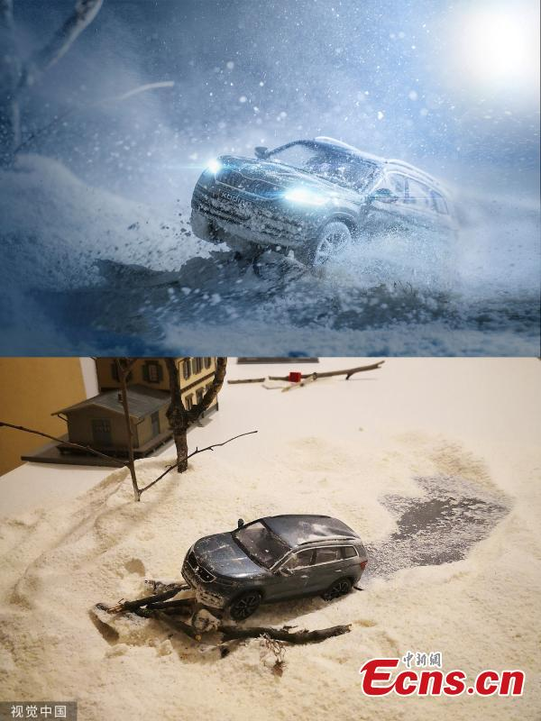 They look like action shots of cars being driven on and off-road, but these pictures were created using toys and miniature scenery. Benedek Lampert is a miniature expert and spent days working with tiny motors to design the realistic looking shots.(Photo/VCG)