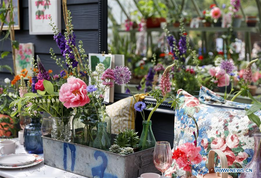 Flowers are on display at the RHS (Royal Horticultural Society) Chelsea Flower Show press day in London, Britain on May 20, 2019. The annual RHS Chelsea Flower Show will open to the public here from May 21 to 25. (Xinhua/Han Yan)