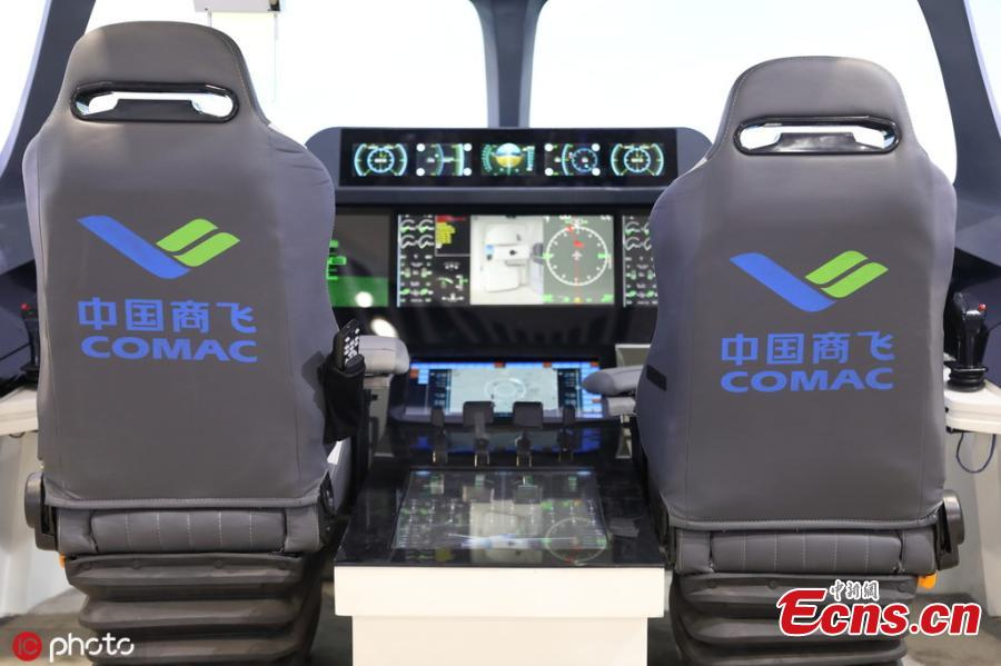 Cockpit of an intelligent driving vehicle is shown at National Science and Technology Week in the Military Museum of the Chinese People\'s Revolution in Beijing on May 21, 2019.(Photo/IC)