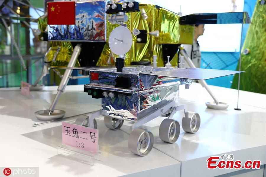 Model of Chinese moon rover Jade Rabbit 2 is on display at National Science and Technology Week in the Military Museum of the Chinese People\'s Revolution in Beijing on May 21, 2019.(Photo/IC)