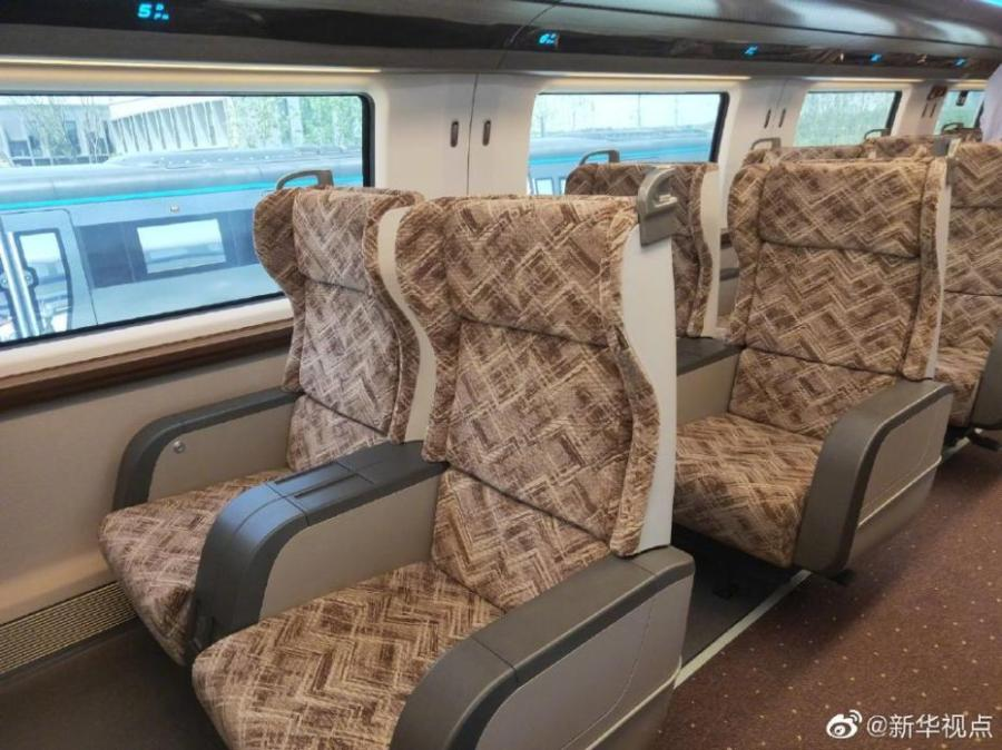 China rolled off production line a prototype magnetic-levitation train with a top speed of 600 km per hour in the eastern city of Qingdao on May 23, 2019. The debut of China\'s first high-speed maglev train testing prototype marks a major breakthrough for the country in high-speed maglev transit system. (Photo/Xinhua)