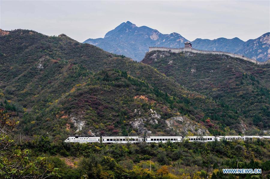 A train runs on the Juyongguan Pass section of the Beijing-Zhangjiakou railway in Beijing, capital of China, Oct. 25, 2015. (Xinhua/Yang Guang)