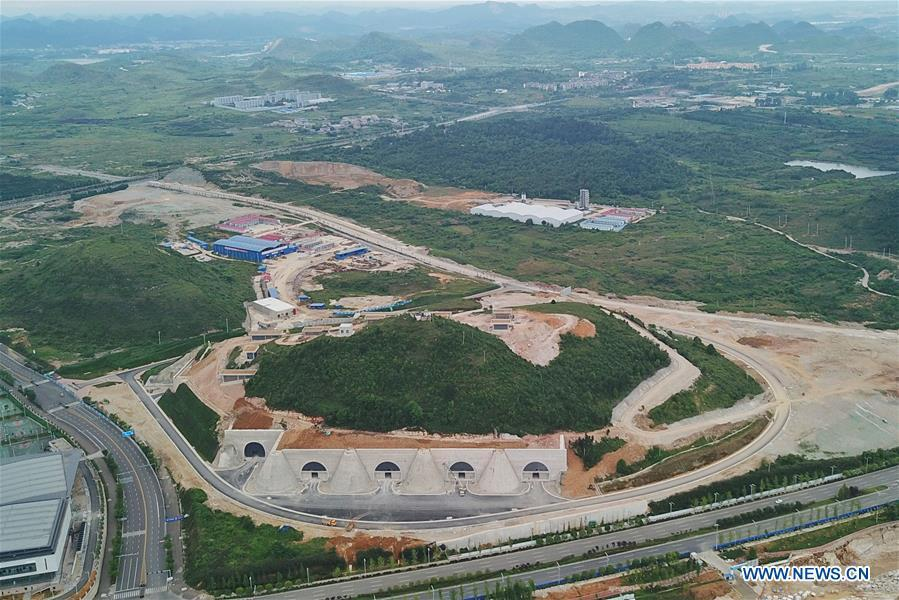 Aerial photo taken on May 19, 2019 shows the Tencent Gui\'an Qixing Center in Gui\'an New Area of southwest China\'s Guizhou Province. In Guizhou Province, which hosts China\'s first state-level big data pilot zone, the integration of big data with sectors such as real economy, social management, civil service and rural revitalization has brought significant changes to people\'s life. According to statistics, Guizhou has more than 9,500 big data enterprises and many of them are active players on the global business stage. A 2019 whitepaper published by the China Academy of Information and Communications Technology indicates that Guizhou is taking advantage of big data in the course of its development, as both the growth of the province\'s digital economy and the growth of its employment in digital economy have ranked first in China. (Xinhua/Ou Dongqu)