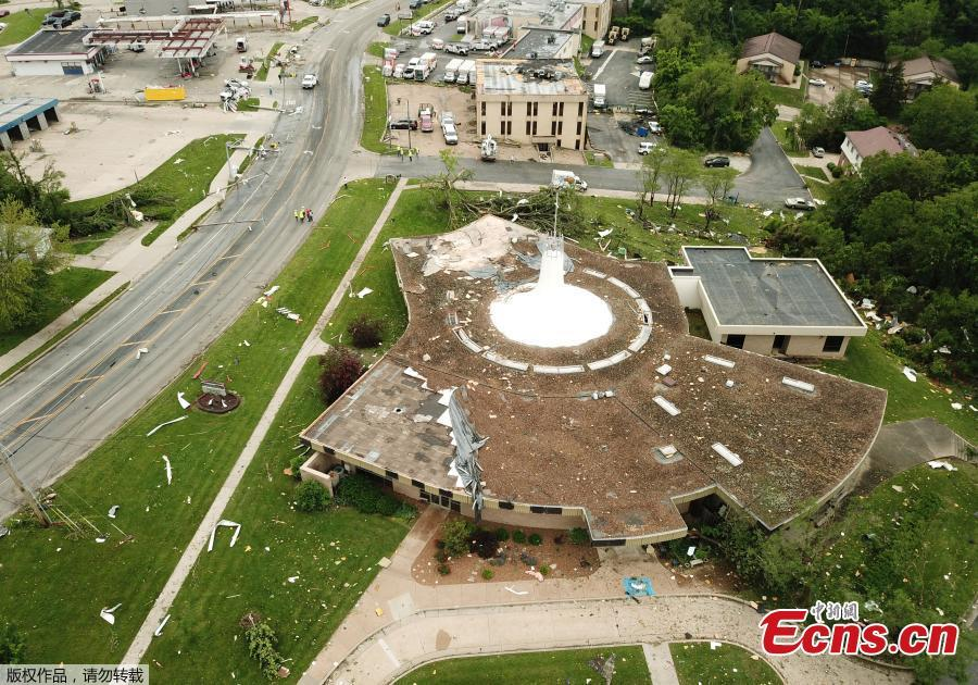 Debris from a damaged building is shown in this aerial photo after a tornado touched down overnight in Jefferson City, Missouri, U.S. May 23, 2019.   (Photo/Agencies)