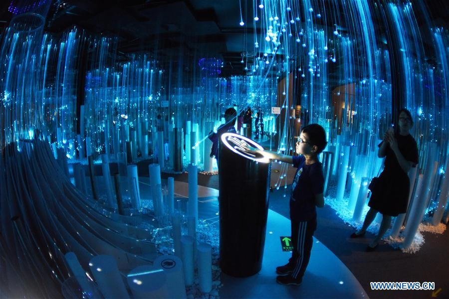 Visitors view the exhibition featuring digital art during China International Big Data Industry Expo 2019 in Guiyang, capital of southwest China\'s Guizhou Province, May 27, 2019. The exhibition is a part of four-day China International Big Data Industry Expo 2019 that kicked off on May 26, 2019. (Xinhua/Yang Wenbin)