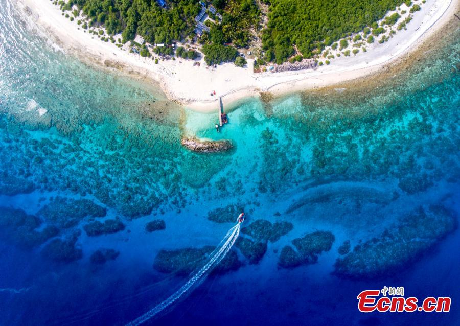 A view of Ganquan Island in the Xisha Yongle Islands group in South China\'s Hainan Province, May 22, 2019. Named after a freshwater well, the lush, oval-shaped island covers an area of 0.3 square kilometers. The remains of a settlement dating back to the Tang and Song dynasties was found there in March 1974, and the site was later listed as a national key cultural relics site. (Photo: China News Service/Luo Yunfei)