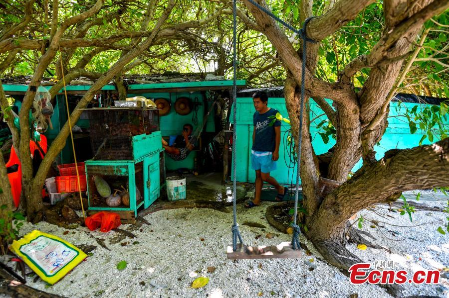 The house of a local fisherman on Ganquan Island in the Xisha Yongle Islands group in South China\'s Hainan Province, May 22, 2019. (Photo: China News Service/Luo Yunfei)