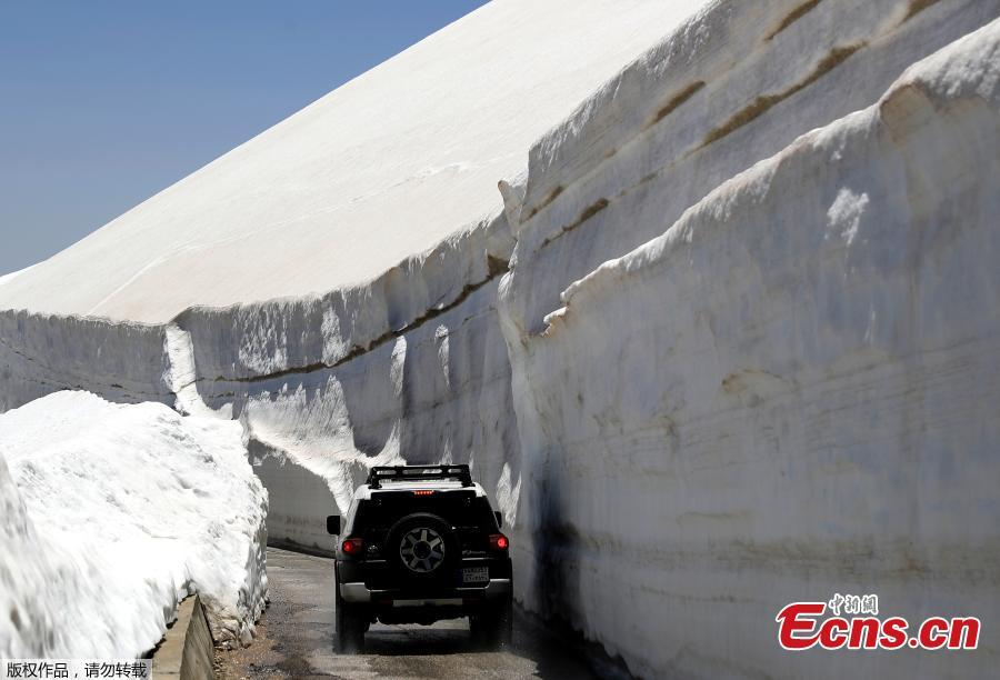 A vehicle drives on a road, surrounded by 10m walls of snow, on May 28, 2019, in the northern Lebanese village of Ainata al-Arz, 1,620 meters above sea level.(Photo/Agencies)
