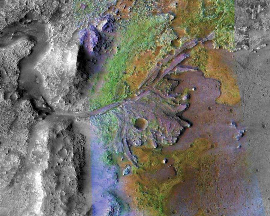 NASA has chosen Jezero Crater as the landing site for its upcoming Mars 2020 rover mission after a five year search, during which every available detail of more than 60 candidate locations on the Red Planet was scrutinized and debated by the mission team and the planetary science community. The rover mission is scheduled to launch in July 2020 as NASA's next step in exploration of the Red Planet. It will not only seek signs of ancient habitable conditions ? and past microbial life -- but the rover also will collect rock and soil samples and store them in a cache on the planet\'s surface. NASA and ESA (European Space Agency) are studying future mission concepts to retrieve the samples and return them to Earth, so this landing site sets the stage for the next decade of Mars exploration.(Photo/NASA)