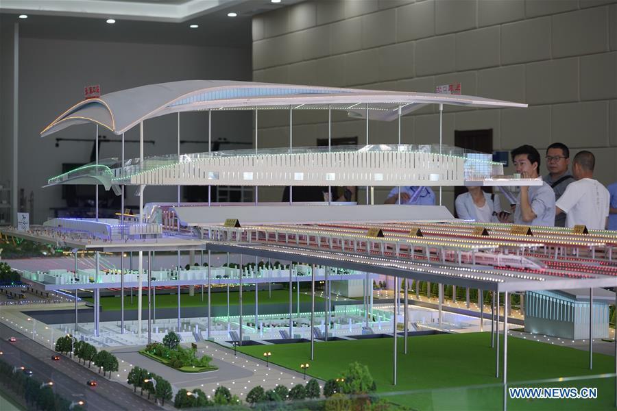Photo taken on May 30, 2019 shows the model of the Zhangjiakou Station of the Beijing-Zhangjiakou high-speed railway in Zhangjiakou, north China\'s Hebei Province. The main structure of the Zhangjiakou Station has been basically completed. (Xinhua/Xing Guangli)
