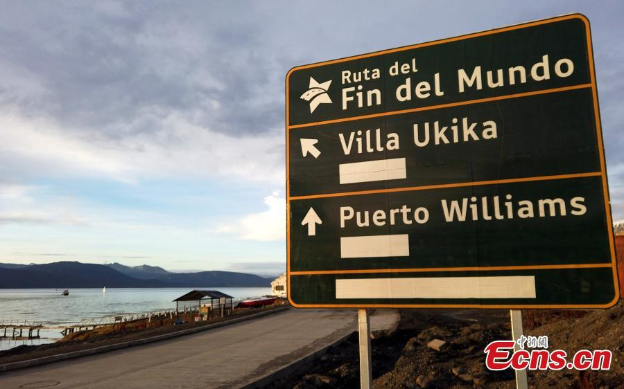 A sign indicates the way to the city of Puerto Williams, Chile May 16, 2019.