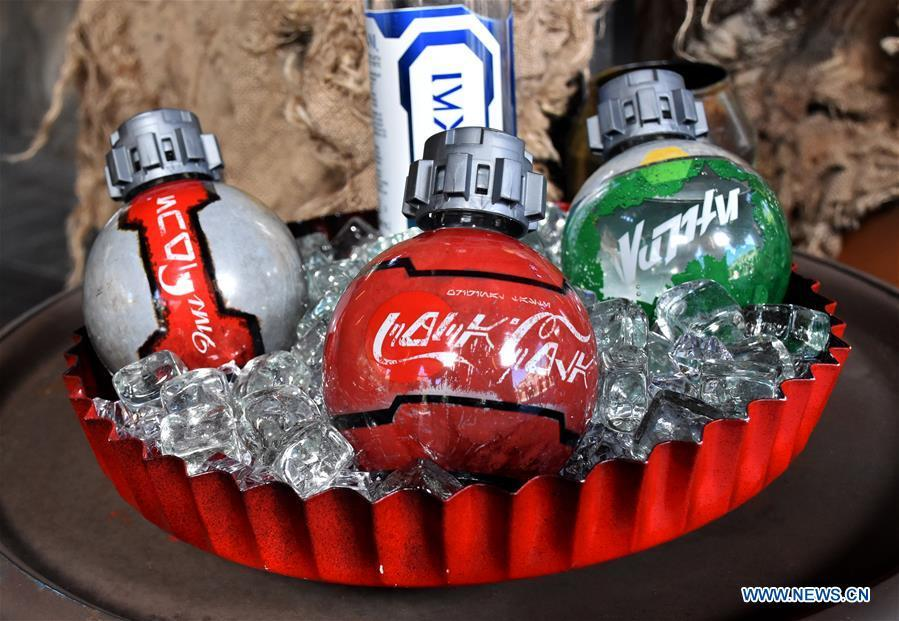 Photo taken on May 28, 2019 shows beverages which will be sold in \
