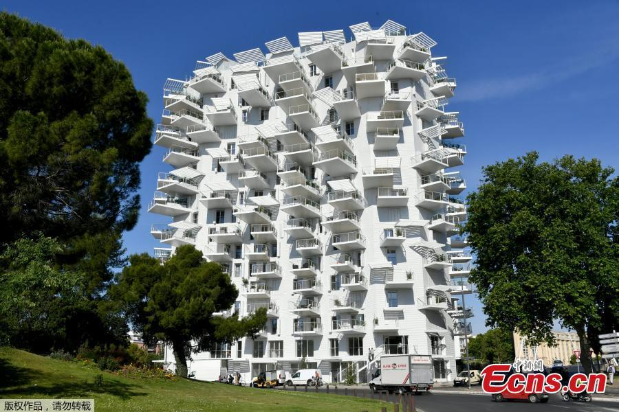 A picture taken on June 3, 2019 in Montpellier, southern France, shows a building \