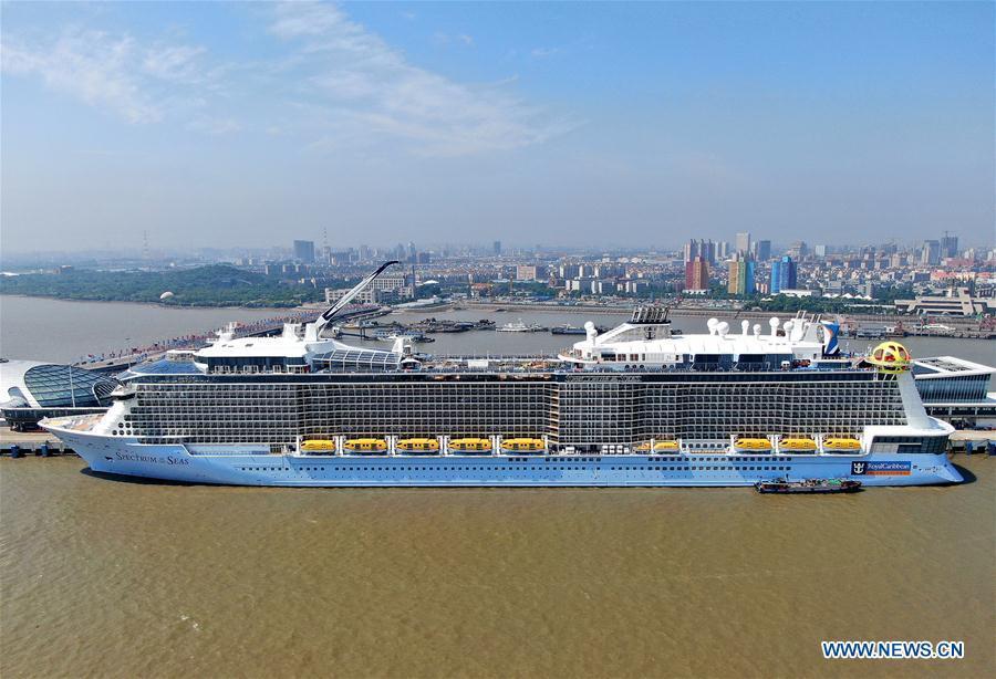 Aerial photo taken on June 3, 2019 shows the Royal Caribbean International cruise ship \