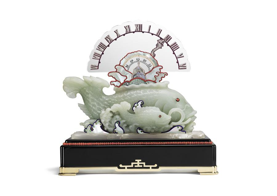 Carp clock with a retrograde hand made in 1925. (Photo provided to China Daily)