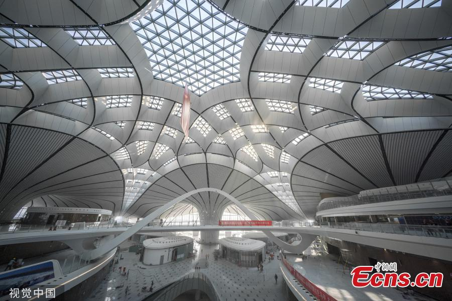 An inside view of the Beijing Daxing International Airport in Beijing on June 1, 2019. The airport will be put into operation before Sept. 30, according to the country\'s civil aviation authorities. Interior decorating and the installation and testing of electromechanical equipment are underway and will be completed this month. (Photo/VCG)