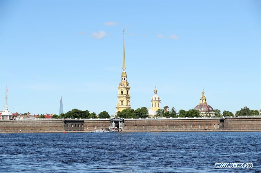 Photo taken on June 3, 2019 shows the Peter and Paul Fortress in St. Petersburg, Russia. Chinese President Xi Jinping will pay a state visit to Russia from June 5 to 7 at the invitation of Russian President Vladimir Putin, a Chinese Foreign Ministry spokesperson announced on Wednesday at a press briefing. Xi will also attend the 23rd St. Petersburg International Economic Forum during his stay, according to spokesperson Lu Kang. (Xinhua/Lu Jinbo)