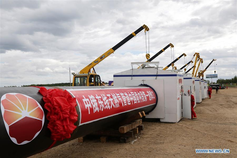 Construction of the Chinese section of the China-Russia east-route natural gas pipeline kicks off in Heihe, northeast China\'s Heilongjiang Province, June 29, 2015. (Xinhua/Song Fulai)