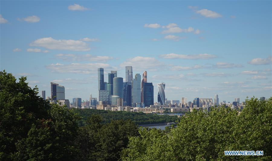 Photo taken on June 3, 2019 shows skyscrapers at the international business center in Moscow, capital of Russia. Chinese President Xi Jinping will pay a state visit to Russia from June 5 to 7 at the invitation of Russian President Vladimir Putin, a Chinese Foreign Ministry spokesperson announced on Wednesday at a press briefing. Xi will also attend the 23rd St. Petersburg International Economic Forum during his stay, according to spokesperson Lu Kang. (Xinhua/Bi Xiaoyang)