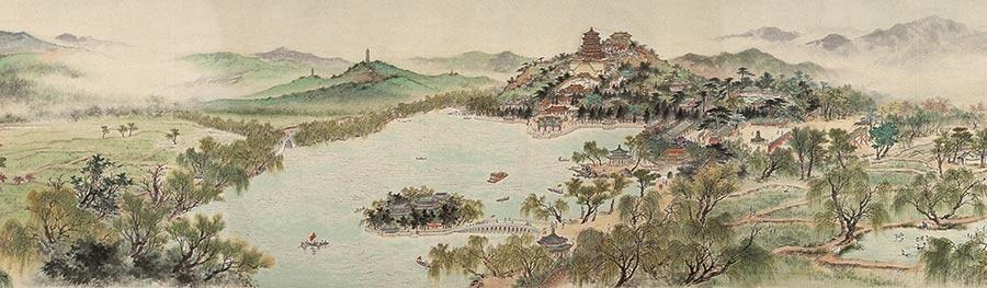 A section of Spring of Capital, from the collection of Beijing Fine Art Academy. (Photo provided to China Daily)  The institution is dedicated to developing and collecting works from the Beijing school of painting.  The ongoing exhibition showcases long scrolls of classic ink paintings which depict construction projects from the 1950s, such as the Shisanling Reservoir in northern Beijing.  Another highlight is the 46-meter-long Spring of Capital, a work of six painters from the academy and bearing an inscription by Guo Moruo, a prominent author and historian. The painting was completed in 1959 in celebration of the 10th anniversary of the founding of People\'s Republic of China.  Other paintings on display are those produced as part of two ongoing creative projects jointly initiated by the academy and the Beijing Artists Association.  The projects, Beijing\'s Charms, which will run for six years, and Beijing Images, which will run for 10 years, want artists involved to create works which document the capital\'s renewing cityscape, for example the new Daxing International Airport set to open soon and preparations for the Beijing 2020 Winter Olympics.