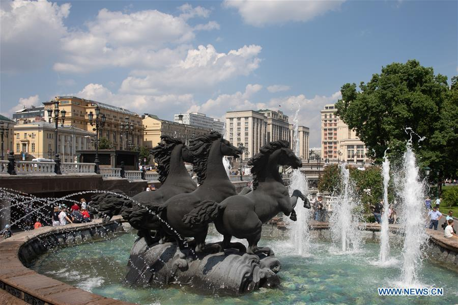 Photo taken on May 28, 2019 shows a fountain in Moscow, capital of Russia. Chinese President Xi Jinping will pay a state visit to Russia from June 5 to 7 at the invitation of Russian President Vladimir Putin, a Chinese Foreign Ministry spokesperson announced on Wednesday at a press briefing. Xi will also attend the 23rd St. Petersburg International Economic Forum during his stay, according to spokesperson Lu Kang. (Xinhua/Bai Xueqi)