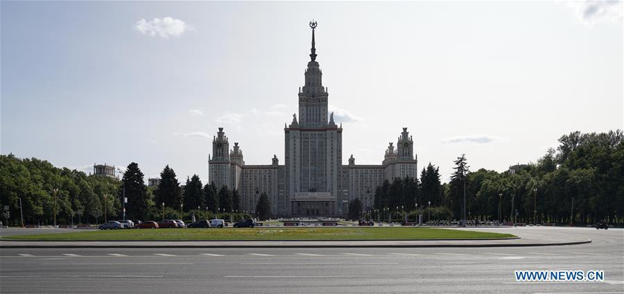 Photo taken on June 3, 2019 shows the Moscow State University in Moscow, capital of Russia. Chinese President Xi Jinping will pay a state visit to Russia from June 5 to 7 at the invitation of Russian President Vladimir Putin, a Chinese Foreign Ministry spokesperson announced on Wednesday at a press briefing. Xi will also attend the 23rd St. Petersburg International Economic Forum during his stay, according to spokesperson Lu Kang. (Xinhua/Bi Xiaoyang)