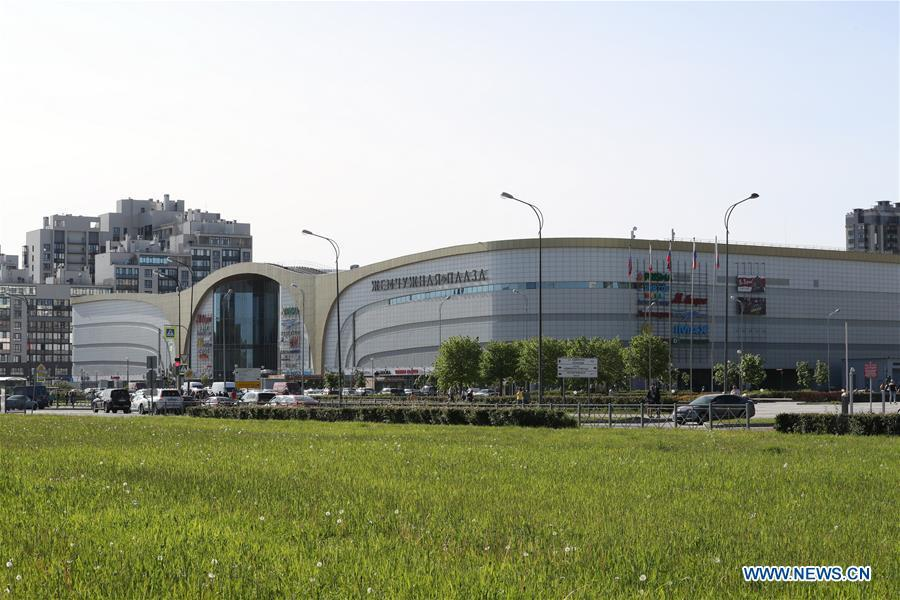 Photo taken on June 3, 2019 shows a shopping mall of the Pearl of the Baltic Sea project in St. Petersburg, Russia. The Pearl of the Baltic Sea project is a modern multi-functional residential and commercial project invested and constructed in St. Petersburg by seven Chinese enterprises including Shanghai Industrial Investment (Holdings) Co., Ltd. Twenty-two sub-projects have been completed by March 2019, including residential communities, commercial projects, schools and kindergartens, with a total construction area of 1.26 million square meters which account for 64 percent of the whole project. By far, the project has welcomed some 20,000 residents, including 4,000 students, and created over 2,000 jobs. (Xinhua/Lu Jinbo)