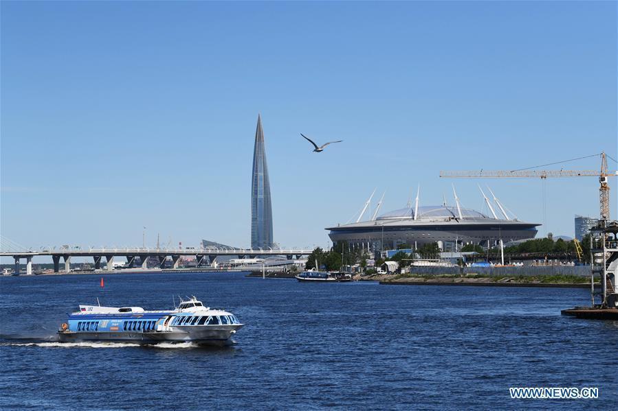 Photo taken on June 3, 2019 shows Saint Petersburg Stadium in St. Petersburg, Russia. St. Petersburg is Russia\'s second largest city. (Xinhua/Sadat)