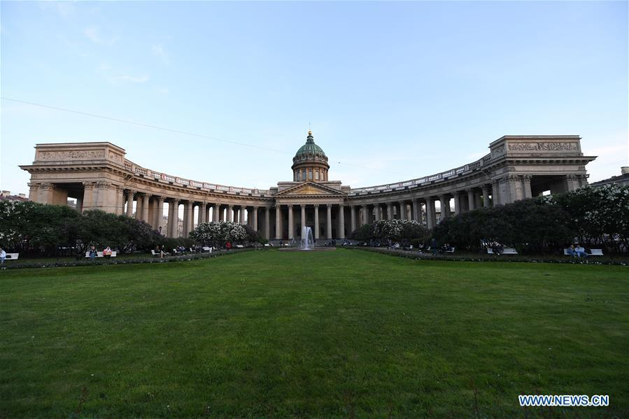 Photo taken on June 3, 2019 shows the Kazan Cathedral in St. Petersburg, Russia. St. Petersburg is Russia\'s second largest city. (Xinhua/Sadat)