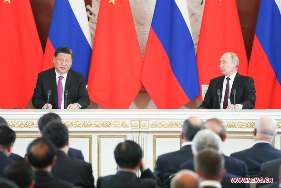 Chinese President Xi Jinping (L) and his Russian counterpart Vladimir Putin meet the press after their talks in Moscow, Russia, June 5, 2019. Xi Jinping held talks with Vladimir Putin at the Kremlin in Moscow on Wednesday. (Xinhua/Yao Dawei)