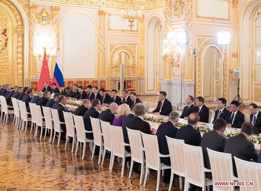 Chinese President Xi Jinping and his Russian counterpart Vladimir Putin hold talks at the Kremlin in Moscow, Russia, June 5, 2019. (Xinhua/Li Xueren)