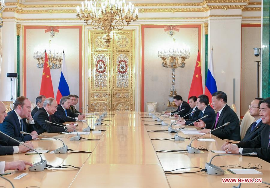 Chinese President Xi Jinping and his Russian counterpart Vladimir Putin hold talks at the Kremlin in Moscow, Russia, June 5, 2019. (Xinhua/Xie Huanchi)