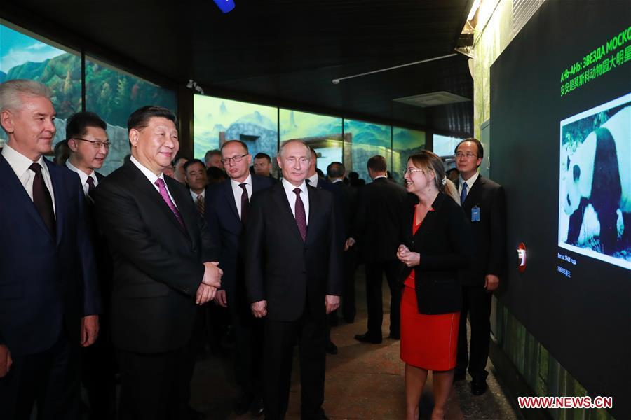 Chinese President Xi Jinping and his Russian counterpart Vladimir Putin attend the inauguration ceremony of the panda house in Moscow Zoo, after their talks in Moscow, Russia, June 5, 2019. Xi Jinping held talks with Vladimir Putin at the Kremlin in Moscow on Wednesday. (Xinhua/Ding Lin)