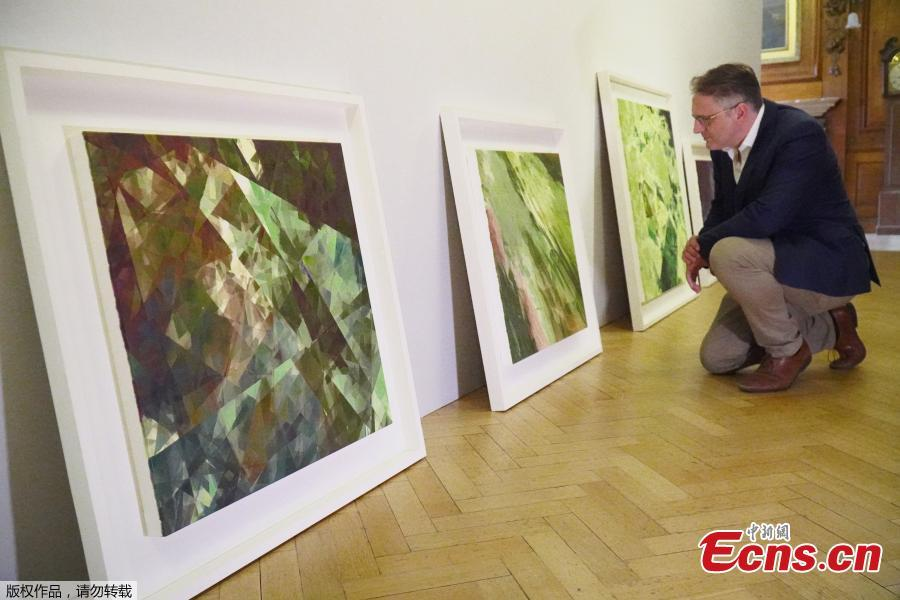 British gallery owner Aidan Meller looks at paintings created using computer vision data recorded by robot artist \