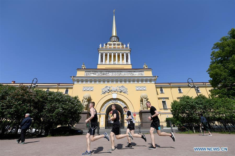 Photo taken on June 4, 2019 shows the Admiralty building in St. Petersburg, Russia. St. Petersburg is Russia\'s second largest city. (Xinhua/Sadat)