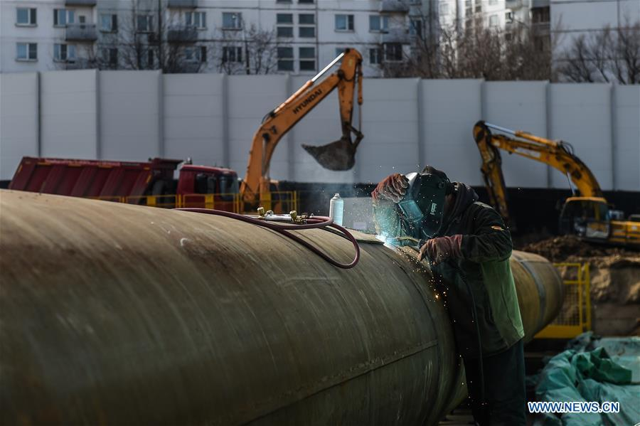 A worker is seen at the construction site of a subway station in Moscow, capital of Russia, April 5, 2019. Since August 2017, China Railway Construction Corporation Limited (CRCC) has been building a 4.6-km section and three stations on the \