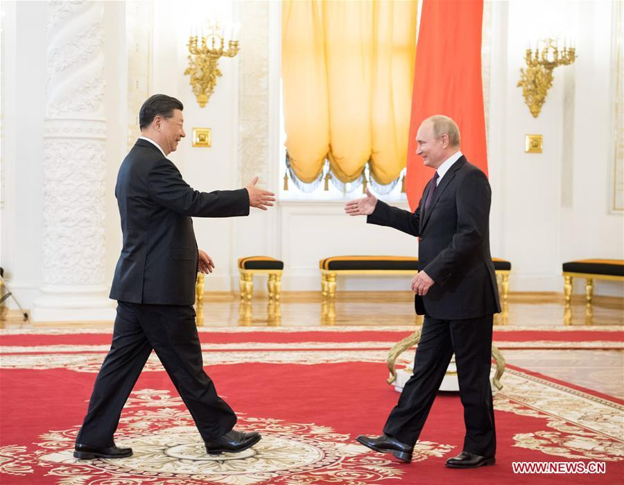 Chinese President Xi Jinping (L) shakes hands with his Russian counterpart Vladimir Putin ahead of their talks in Moscow, Russia, June 5, 2019. Xi Jinping held talks with Vladimir Putin at the Kremlin in Moscow on Wednesday. (Xinhua/Li Xueren)