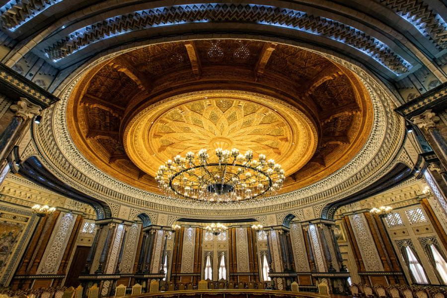 Photo taken on April 14, 2019 shows a conference hall in the Kohi Navruz (Navruz Palace) in Dushanbe, Tajikistan. The building has 12 halls, each of which is made in a unique style.  (Photo/Xinhua)