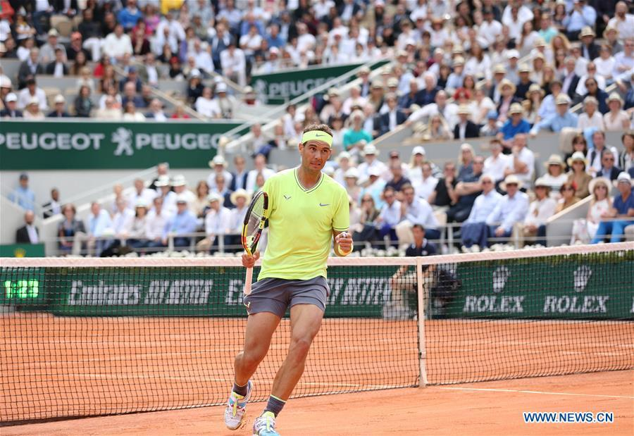 Rafael Nadal of Spain competes during the men\'s singles final with Dominic Thiem of Austria at French Open tennis tournament 2019 at Roland Garros, in Paris, France on June 9, 2019. (Xinhua/Gao Jing)