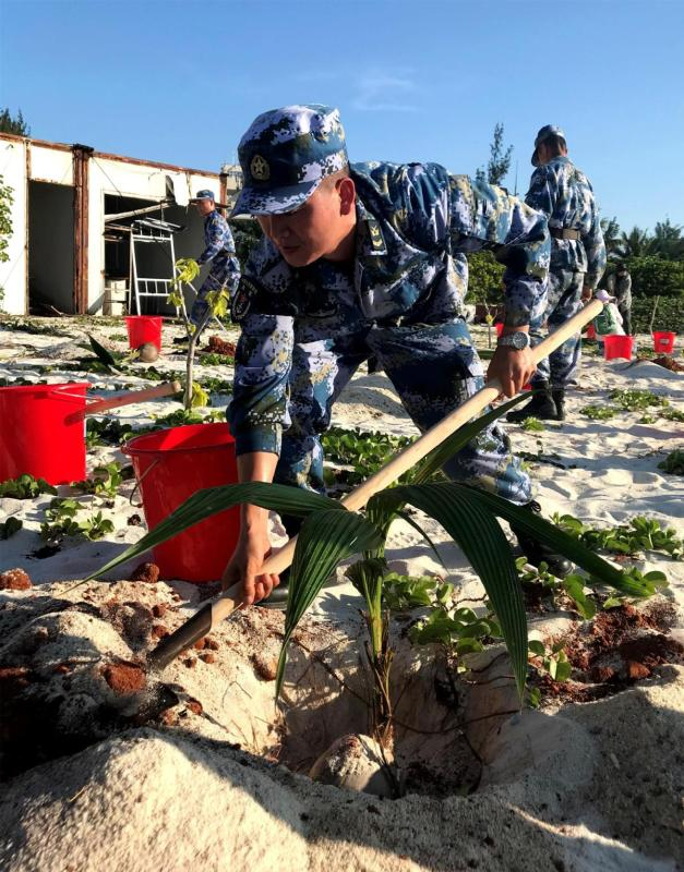 A sailor plants a coconut sapling. (CAI SHENGQIU/FOR CHINA DAILY)
