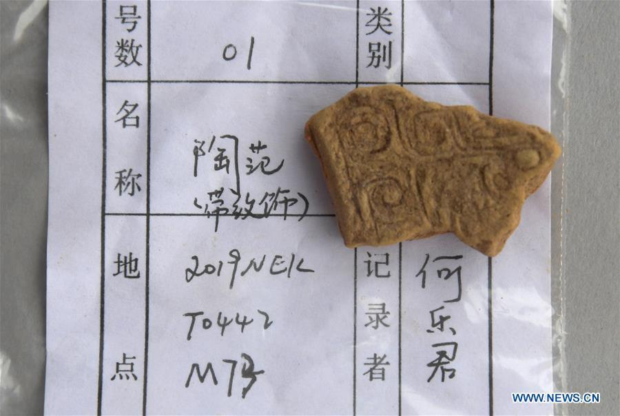 A relic unearthed from the family tomb of bronzeware artisans of the Shang Dynasty is displayed in Anyang, central China\'s Henan Province, June 5, 2019. Archaeologists in central China\'s Henan Province said they have identified 42 tombs unearthed since 2017 to be a family tomb of bronzeware artisans dating back over 3,000 years. (Xinhua/Li An)