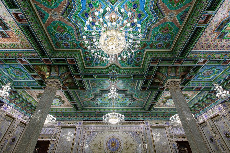 Photo taken on April 14, 2019 shows a hall in the Kohi Navruz (Navruz Palace) in Dushanbe, Tajikistan. (Photo/Xinhua)