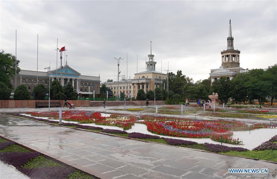 Photo taken on June 9, 2019 shows the street view of Bishkek, capital of Kyrgyzstan. (Xinhua/Bi Xiaoyang)