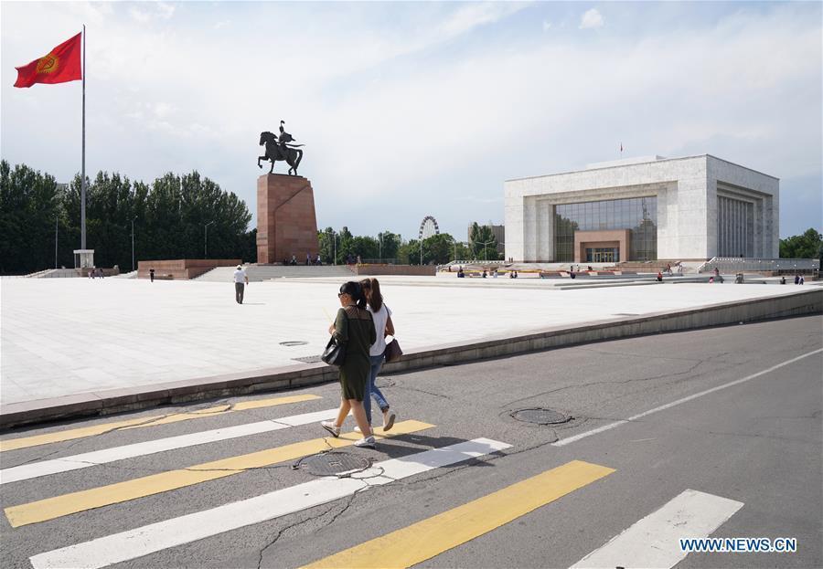 Photo taken on June 9, 2019 shows the view of Ala Too Square in Bishkek, capital of Kyrgyzstan. (Xinhua/Bi Xiaoyang)