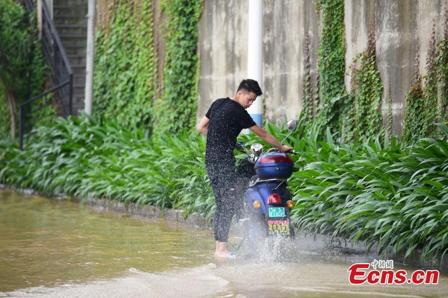A flooded street near the Liujiang River after heavy rainfall upstream in Liuzhou City, Southwest China's Guangxi Zhuang Autonomous Region, June 10, 2019. (Photo: China News Service/Wang Yizhao)