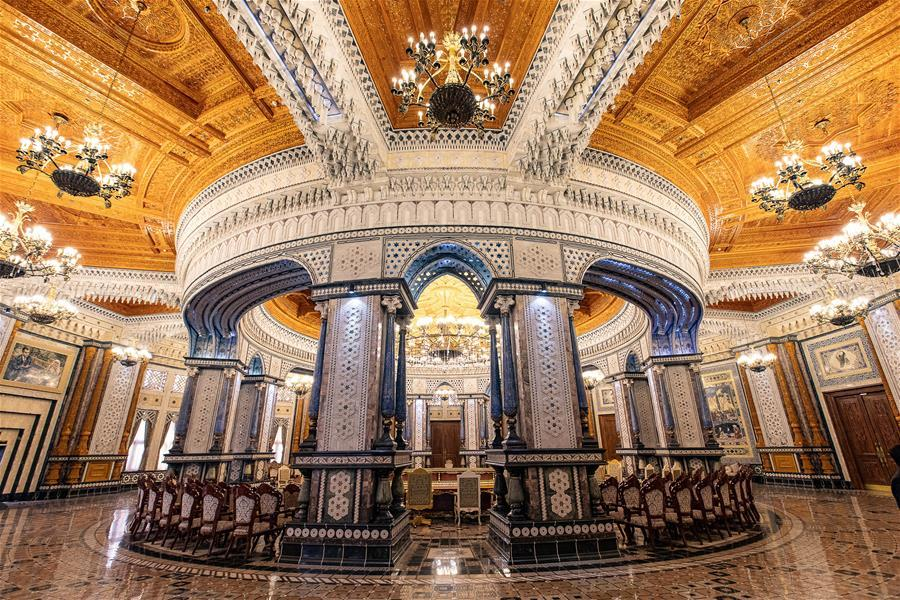 Photo taken on April 14, 2019 shows a conference hall in the Kohi Navruz (Navruz Palace) in Dushanbe, Tajikistan. The building has 12 halls, each of which is made in a unique style. (Xinhua/Bai Xueqi)