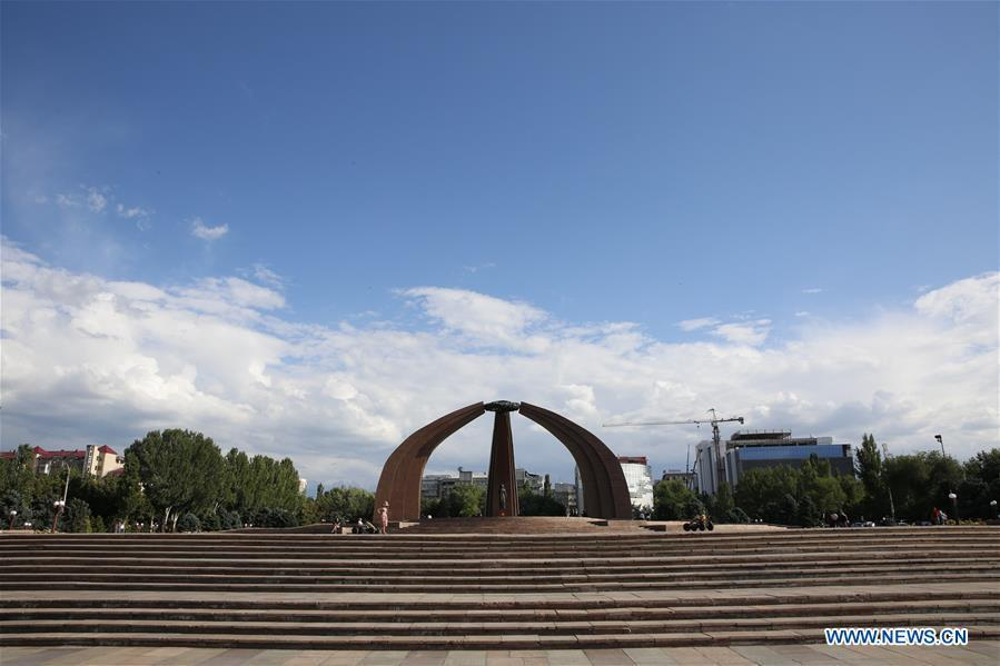 Photo taken on June 5, 2019 shows the view of Victory Square in Bishkek, capital of Kyrgyzstan. (Xinhua/Roman)