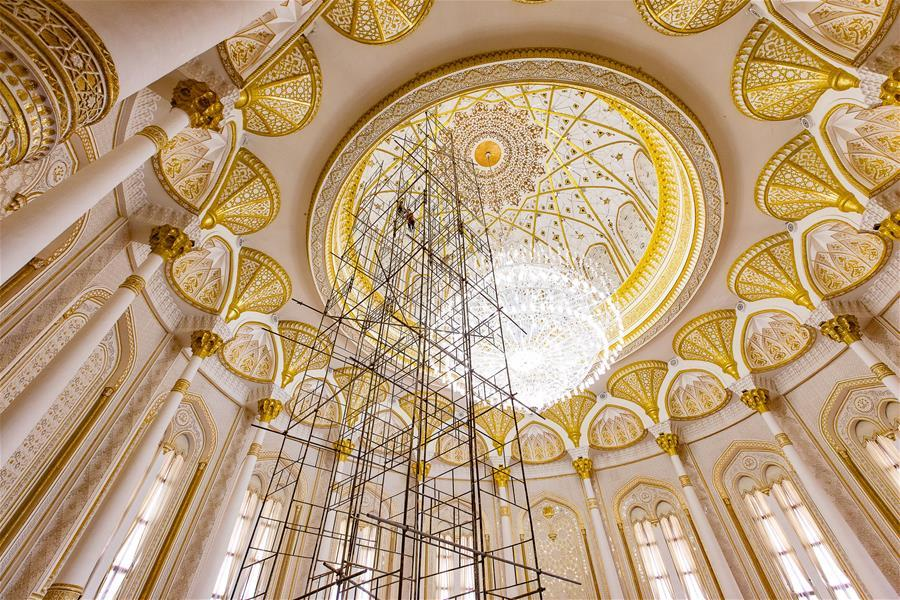 Photo taken on April 14, 2019 shows a hall in the Kohi Navruz (Navruz Palace) in Dushanbe, Tajikistan. The building has 12 halls, each of which is made in a unique style. (Xinhua/Bai Xueqi)